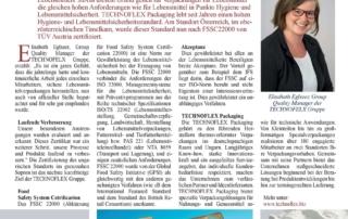 Technoflex FSSC Lebensmittelsicherheit Kompack Zeitungsartikel