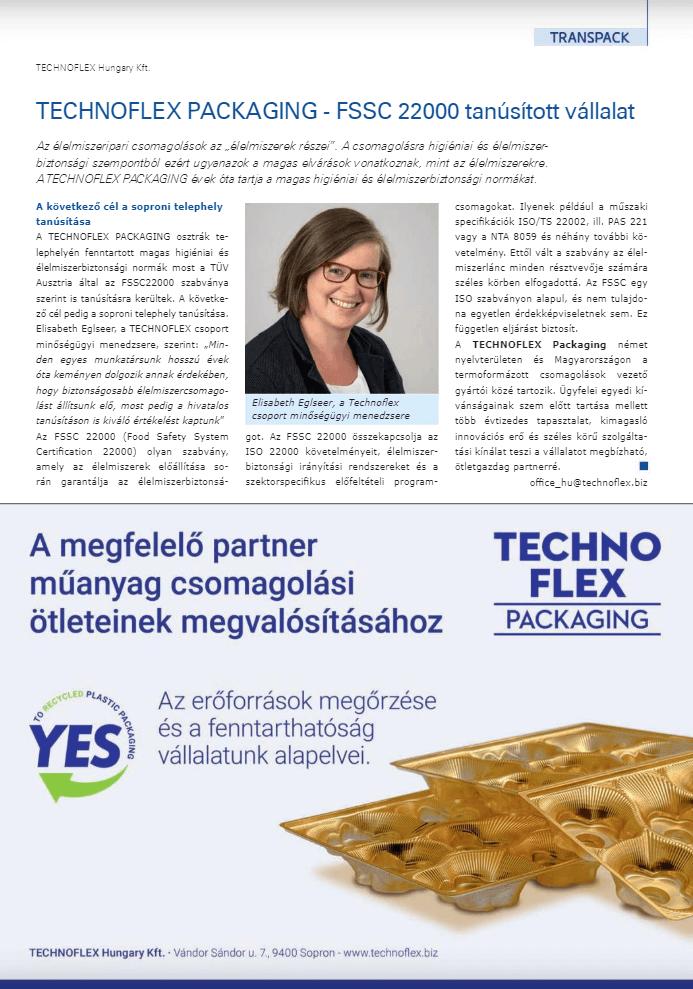 A Technoflex FSSC 22000 tanúsított vállalat 1