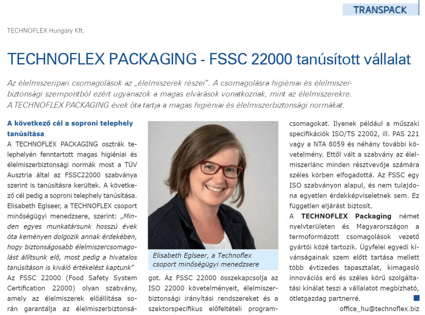Technoflex FSSC élelmiszeripari tanúsítvány Transpack cikk
